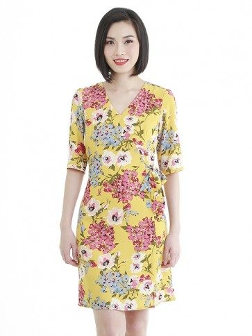 Yellow Floral Short Dress- D38588