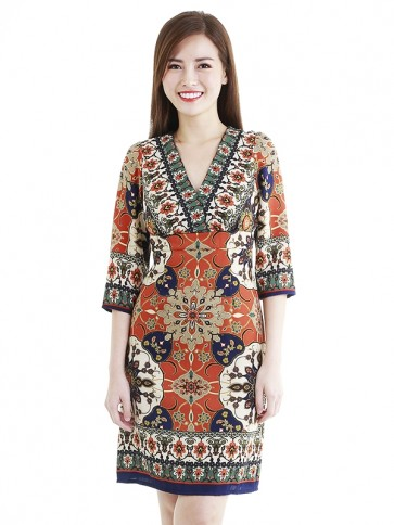 Ethnic Print Short Dress- D38770