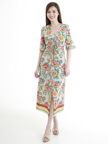 Floral Print Long Dress- D38677