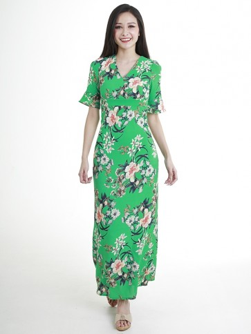 Green Floral Print Long Dress- D38455