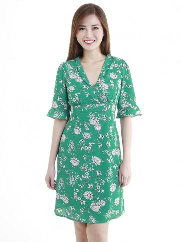 Green Floral Print Short Dress- D38604