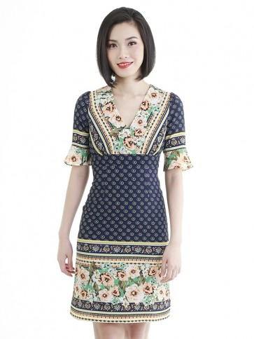 Ethnic Print Short Dress- D38691