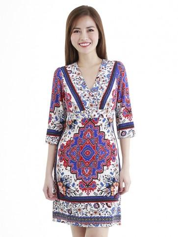 White Ethnic Print Short Dress- D38774