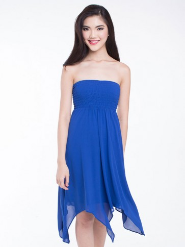 Strapless dress with handkerchief hem - D36038