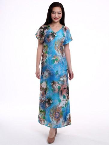 Short Sleeve Blue Floral Long Dress - D36087