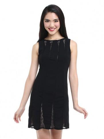 Black Lace Sleeveless Short Dress - D36259
