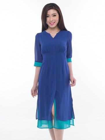 3/4 Sleeve Blue Long Dress - D36270