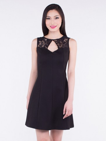 Black Sleeveless Lace Short Dress - D36393