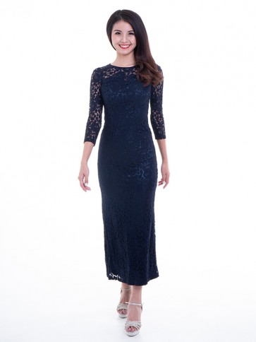 Navy Lace Long Dress- D36444