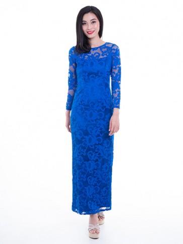 Blue Lace Long Dress- D36705