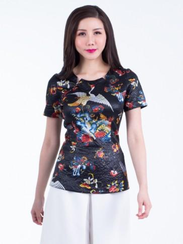 Black Floral Top- T36832