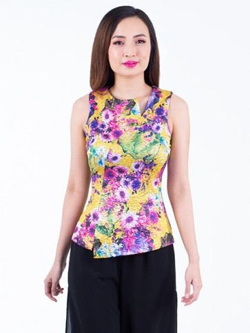 Yellow Floral Top- T36865