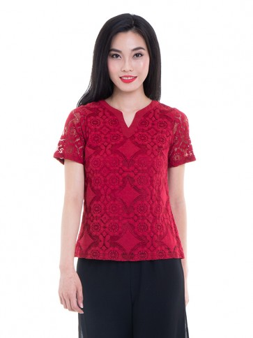 Short Sleeve Lace Top- T36881