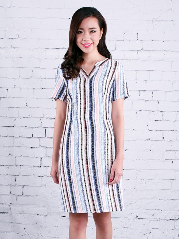 White Striped Dress - D37034