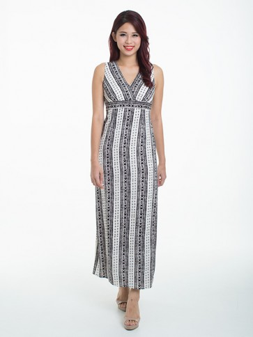 White and Black Print Maxi Dress - D37046