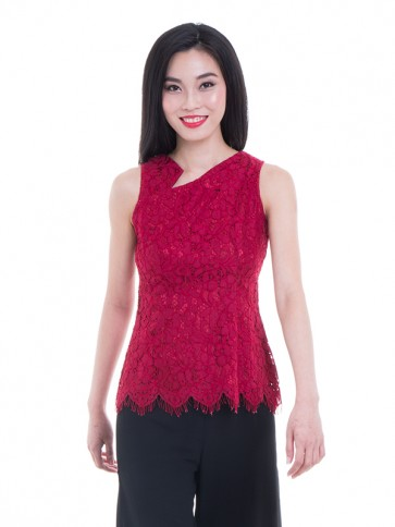 Sleeveless Lace Top- T37458