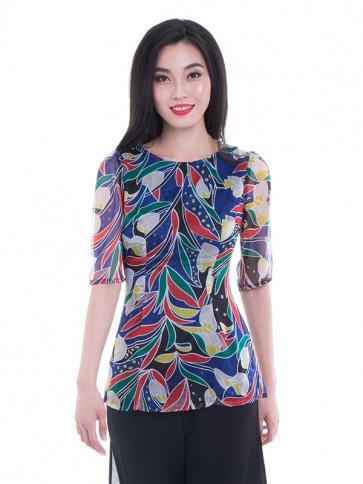 Multicoloured Print Blouse- T37532