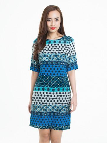 Moroccan Inspired Tile Art Print Dress - D37594