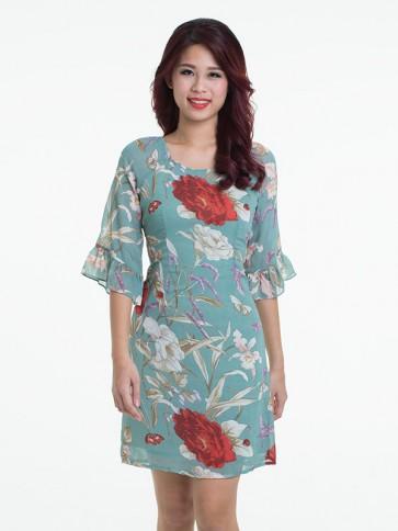 Green Floral Print Dress - D37642