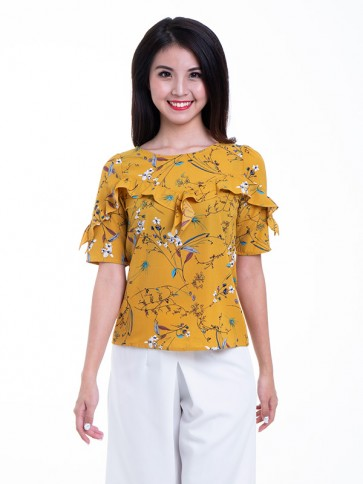Yellow Floral Print Top- T37685