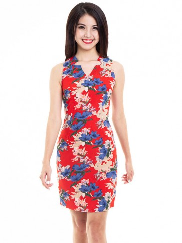 Red Floral Print Short Dress - D37952