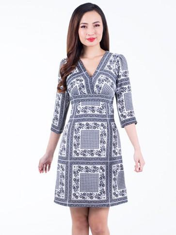 Monochrome Print Short Dress- D38045