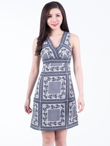 Monochrome Print Short Dress- D38046