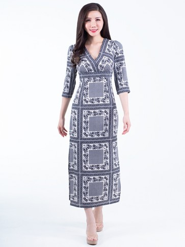 Monochrome Print Long Dress- D38047