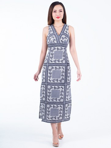 Monochrome Print Long Dress- D38048