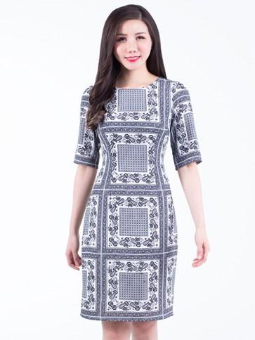Monochrome Print Short Dress- D38153
