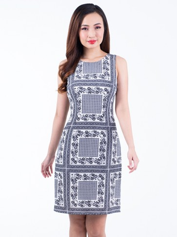 Monochrome Print Short Dress- D38154