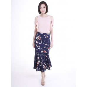 Navy Floral Skirt- S37865