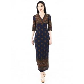 Navy Printed Long Dress - D38727
