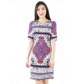White Print Short Dress- D38778