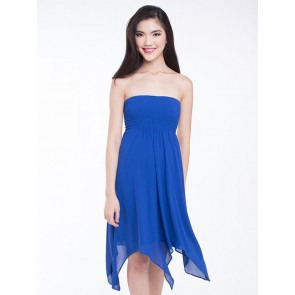 Strapless dress with handkerchief hem - D36038