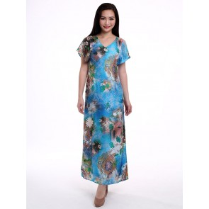 Short Sleeve Blue Floral Long Dress - D36087