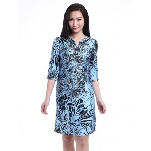 Blue V-neck 3/4 Sleeve Dress - D36150