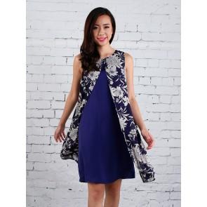 Floral Split Front Overlay Dress - D36248