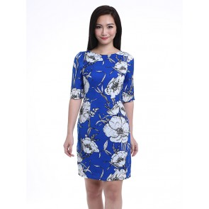 Blue Boat Neck Floral Print Dress - D36251