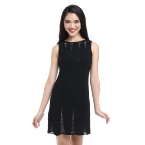 Black Lace Sleeveless Short Dress - D36259