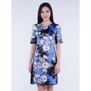3/4 Sleeve Blue and Black Floral Short Dress - D36268