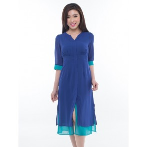 3/4 Sleeve Blue Long Dress - D36270