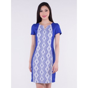 Short Sleeve Blue Diamond Print Short Dress - D36280