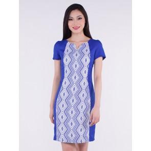 Short Sleeve Blue Diamond Print Short Dress - D36280