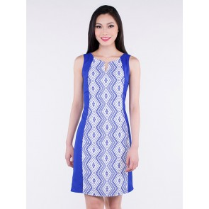 Sleeveless Blue Diamond Print Short Dress - D36281