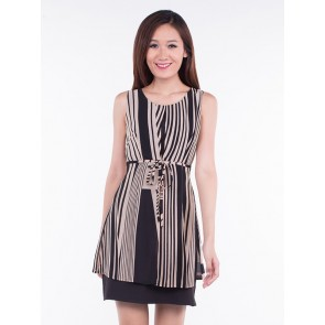 Sleeveless Stripped Short Dress - D36285