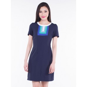 Short Sleeve Navy Blue A-Line Dress - D36296