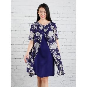 Floral Split Front Overlay Dress - D36247