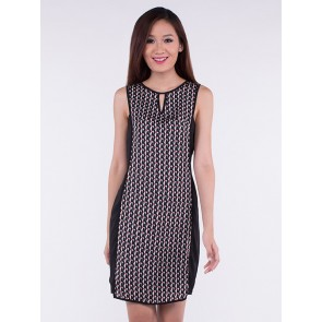 Sleeveless Black Patterned Peephole Dress - D36312