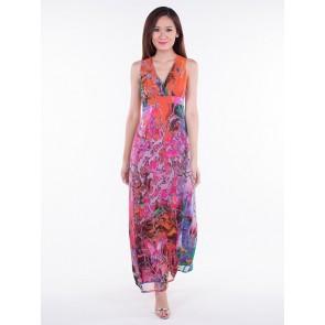 Multicoloured Empire Maxi Dress - D36342